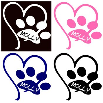 Personalised Paw Car Window Sticker, Car Dog Cat Name Pet Paw Print with Heart,